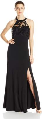 My Michelle Junior's Halter Neck Long Prom Dress with Open Back