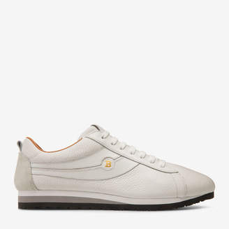 Bally Bredy White, Men's grained deer leather trainer in white