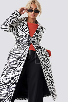 NA-KD Zebra Patent Coat Zebra