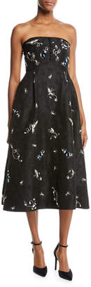 Erdem Yahia Strapless Midi Dress