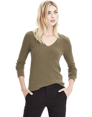 Italian Cashmere Blend Seamless Ribbed Vee Pullover $88 thestylecure.com
