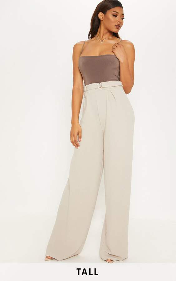 Tall Stone Ring Detail Pleated Wide Leg Trouser