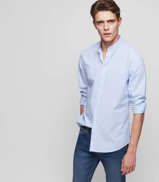 Reiss FARGO STRIPED GRANDAD-COLLAR SHIRT Soft Blue