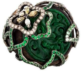 Wendy Yue 18K Wood, Jade, Tsavorite & Diamond Ring brown Wendy Yue 18K Wood, Jade, Tsavorite & Diamond Ring