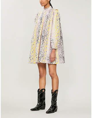 Ganni Leopard-print cotton midi dress