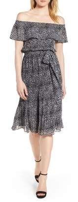 MICHAEL Michael Kors Wavy Leopard Print Off the Shoulder Dress