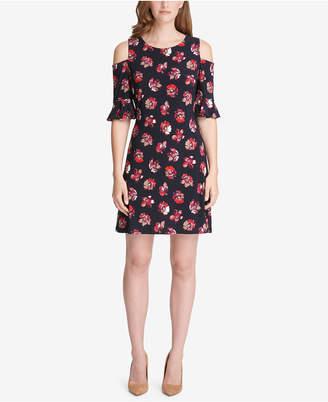 Tommy Hilfiger Floral Cold-Shoulder A-Line Dress
