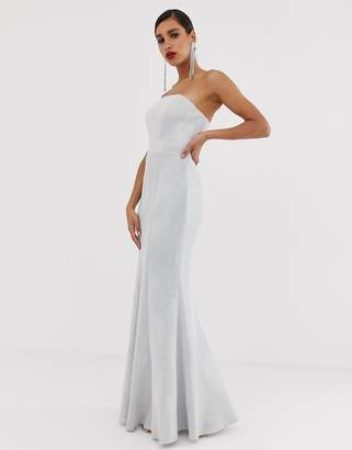 Bariano strapless fishtail gown with detachable skirt detail in silver glitter