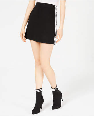 Waisted Juniors' Varsity-Stripe Mini Skirt