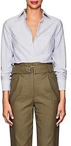 Barneys New York Women's Striped Cotton Shirt - Navy