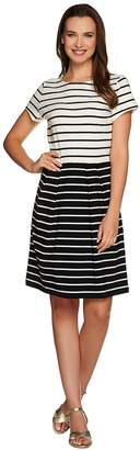 Isaac Mizrahi Live! Fit and Flare Striped Knit Dress