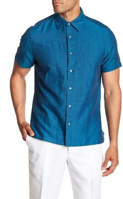 Perry Ellis Solid Linen Blend Regular Fit Shirt