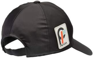 Prada Nylon Baseball Cap With Saffiano Leather Logo