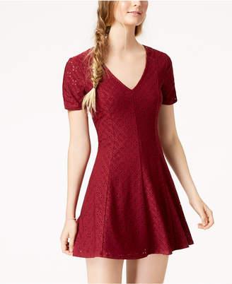 Trixxi Juniors' Ruched-Sleeve Eyelet Dress