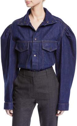 Calvin Klein Snap-Front Balloon-Sleeve Denim Jacket Blouse