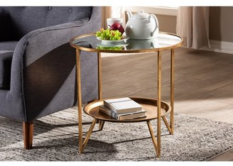 Baxton Studio Tamsin Modern and Contemporary Antique Gold Finished Metal and Mirrored Glass Accent Table with Tray Shelf