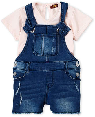 7 For All Mankind Toddler Girls) Two-Piece Tee & Frayed Denim Overalls