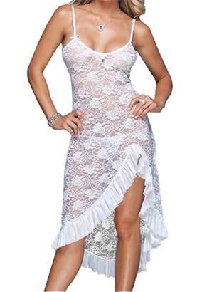 YouYaYZAI Women (S-6XL) Spaghetti Lace Dress Babydoll Sexy Lingerie Nightgown(,M)