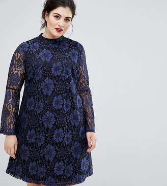 Lovedrobe high neck swing dress in contrast navy