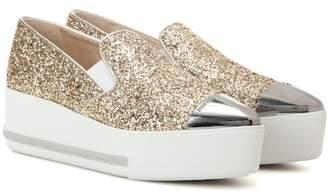 Miu Miu Glitter platform slip-on sneakers