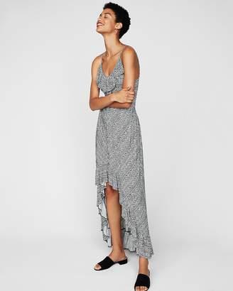 Express Geometric Ruffle Smocked Waist Maxi Dress