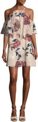 Trina Turk Seraphima Cold-Shoulder Floral-Print Shift Dress