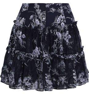 Cinq à Sept Mirabelle Gathered Floral-Print Silk-Georgette Mini Skirt