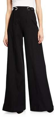 Rosetta Getty High-Waist Grommet Tab Sailor Trousers