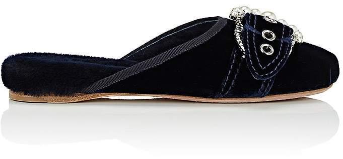 Miu Miu Women's Embellished-Buckle Velvet Slippers