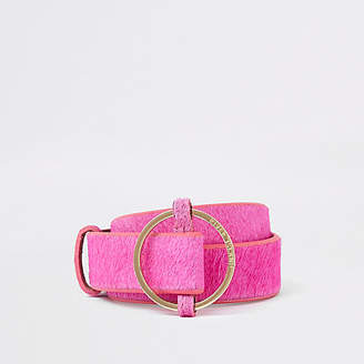 River Island Pink leather RI circle buckle jeans belt