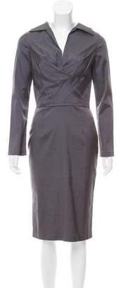 Samantha Sung Silk Long Sleeve Dress