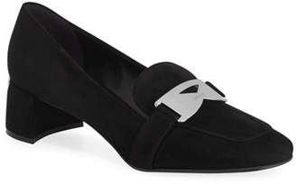 10c7f8a49aa Prada Suede Loafer Pump with Logo Plaque