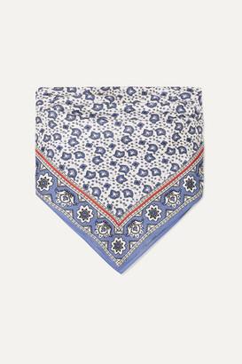 Chloé Printed Silk-twill Bandeau Top - Blue