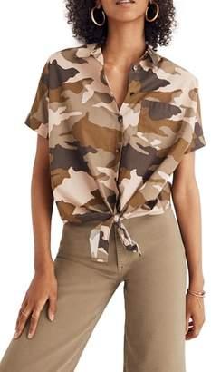 Madewell Camo Tie Front Short Sleeve Shirt