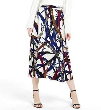 Basic Model Women's Chiffon Dress Vintage High Elastic Waist Basic OL-Style A-line Printed Pleated Midi Skirts