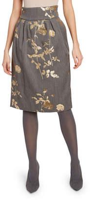Dries Van Noten Matelasse Chinoiserie Floral Suiting Skirt