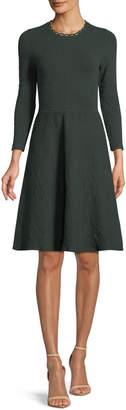Lela Rose Jewel-Neck Long-Sleeve Fit-and-Flare Knit Jacquard Dress