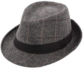 doublebulls hats Felt Trilby Hat Men Gentleman Autumn Winter Plaid Fedora  Jazz Hats Multicolor d9471bf3da12