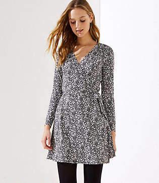 LOFT Petite Leopard Print Wrap Dress
