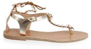 Ancient Greek Sandals Chrysso Pearls Leather Sandals
