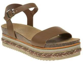 Sole New Womens Tan Elspeth Leather Sandals Platforms Buckle