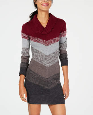 BCX Juniors' Cowl-Neck Chevron Sweater Dress