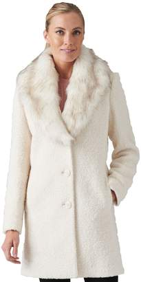Gallery Wool Blend Boucle Coat with Faux-Fur Collar