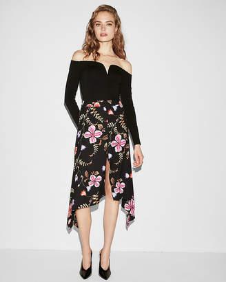 Express Floral Asymmetrical Slit Front Midi Skirt