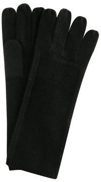 Kashmere black knit detail cashmere gloves