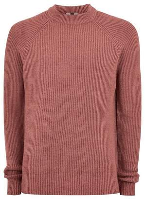 Topman Mens Pink Ribbed Crew Roll Neck Sweater