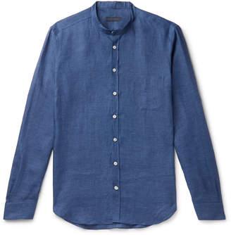 Thom Sweeney - Slim-Fit Grandad-Collar Linen Shirt - Men - Blue