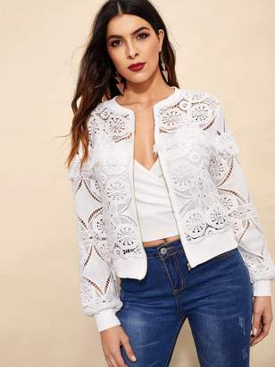 Shein Cut-out Fringe Zip-up Lace Jacket