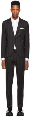 Neil Barrett Grey and Black Wool Striped Suit