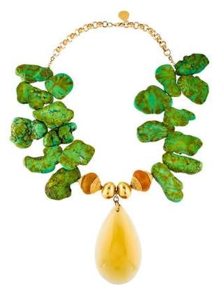 Devon Leigh Dyed Green Howlite & Amber Pendant Necklace